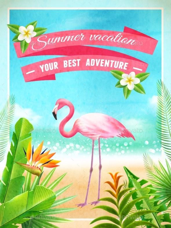 Flamingo Bird Exotic Summer Vacation Poster - Travel Conceptual