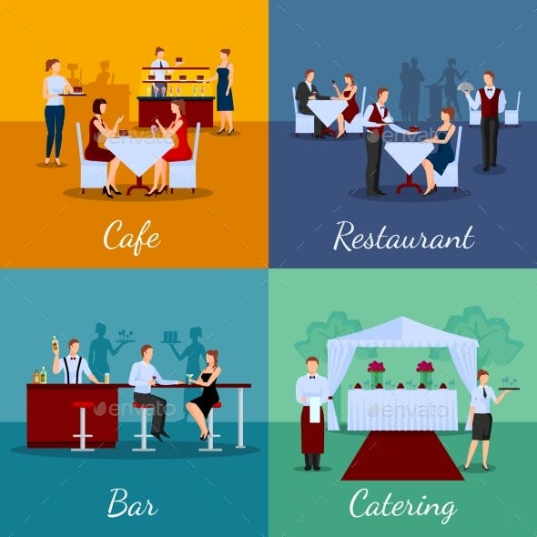 Catering Concept Icons Set
