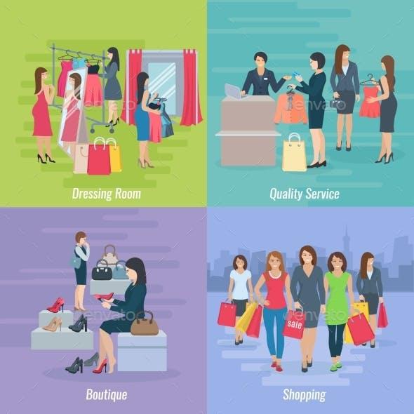 Woman Shopping Flat Concept