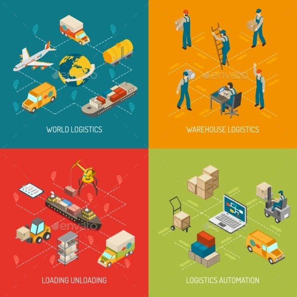 Logistics Concept 4 Isometric Icons Set