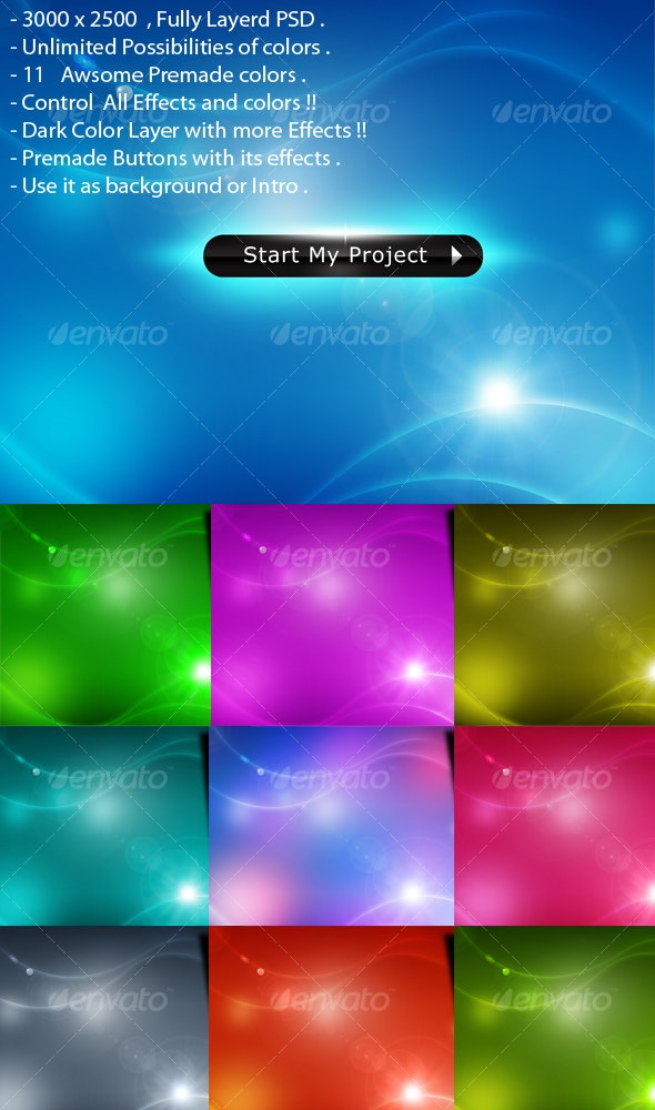 Sci-fi  Space web2.0 colorful background - Backgrounds Graphics