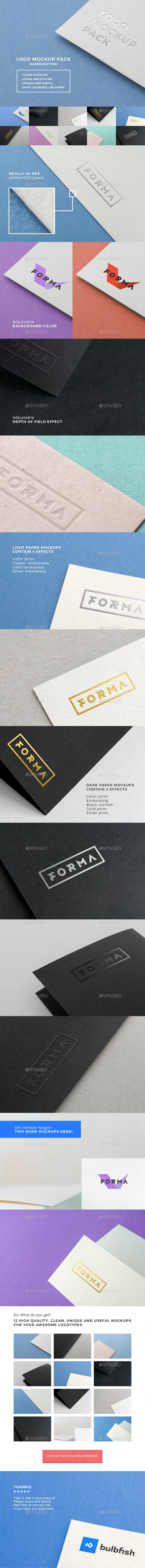 Logo Mockup Pack. Paper Edition - Logo Product Mock-Ups