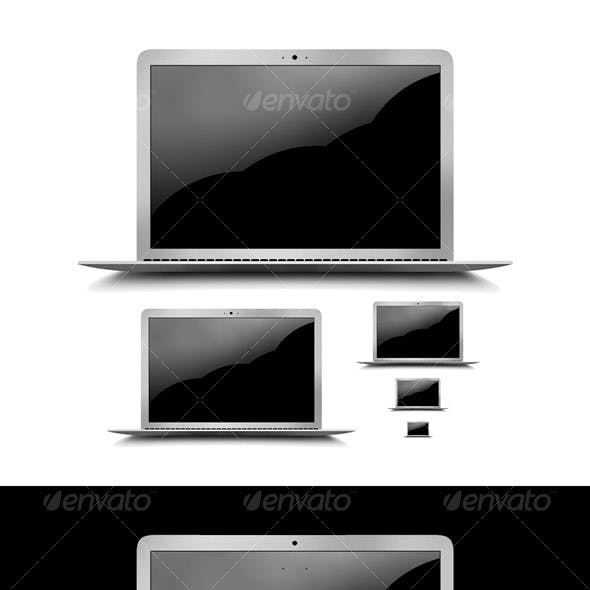 Layered PSD & PNG High Res Laptop Graphic + Icons