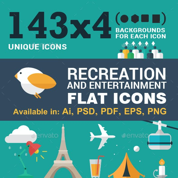 143x4 Icons for Recreation and Entertainment