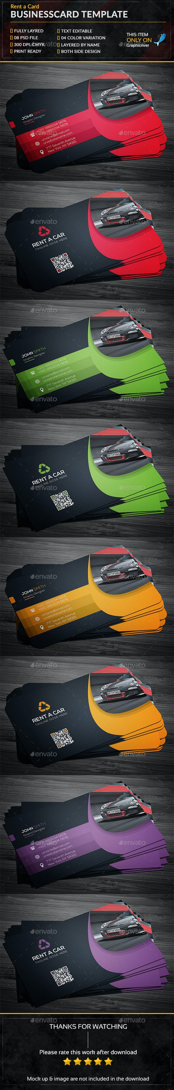 Rent A Car Business Card - Business Cards Print Templates