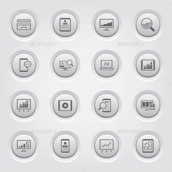Grey Button Design Icon Set.