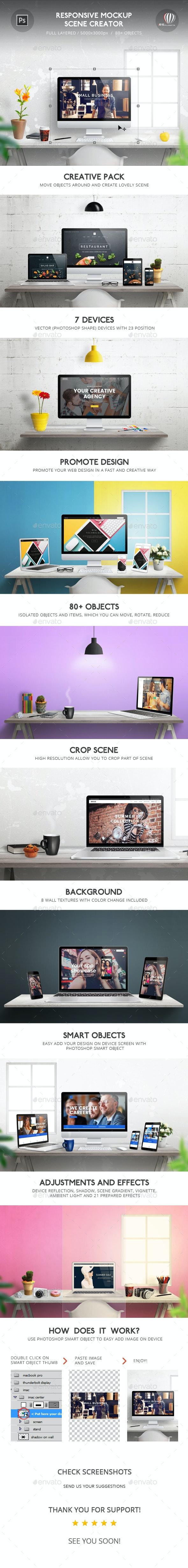 Responsive Mockup Scene Creator - Displays Product Mock-Ups