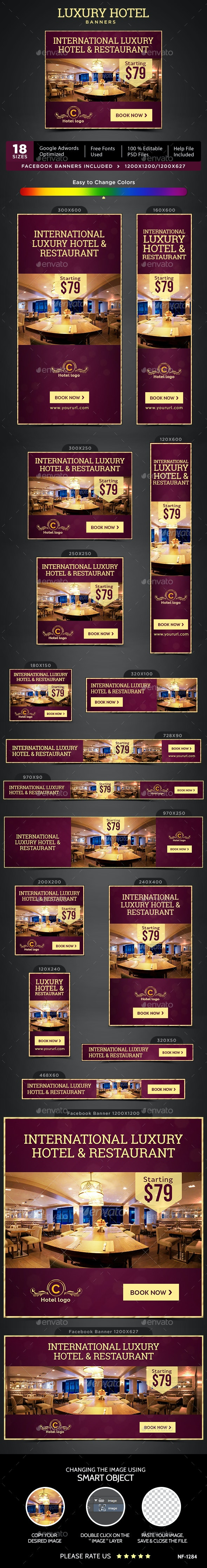 Hotel & Restaurant Banners - Banners & Ads Web Elements