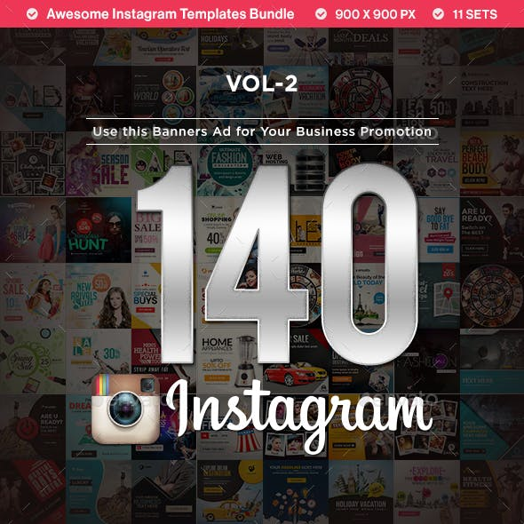 Instagram Templates(VOL-02) - 140 Designs