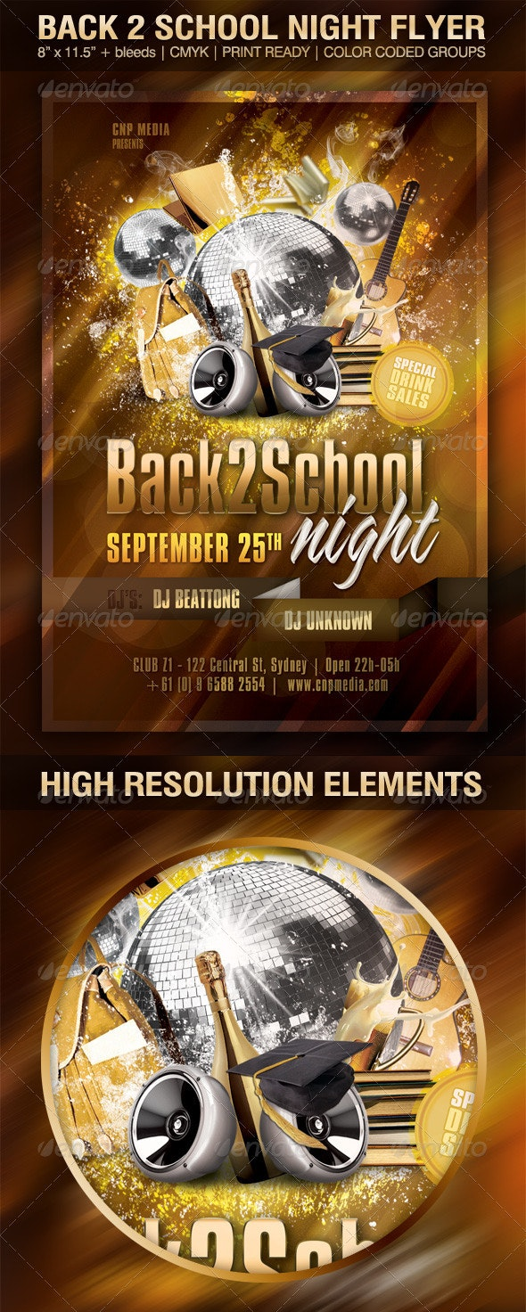Back2School Night Flyer Template - Clubs & Parties Events