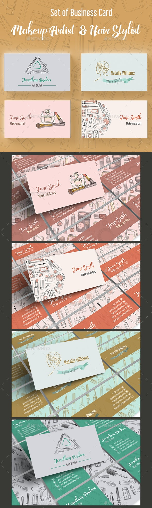 Set of Makeup Artist and Hair Stylist Business Card - Industry Specific Business Cards
