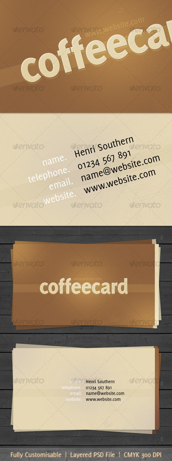 Coffee themed business card - Industry Specific Business Cards