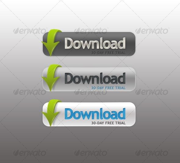 3D Download Buttons - Buttons Web Elements