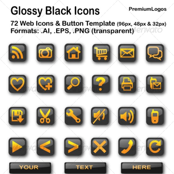 Glossy Black Icons