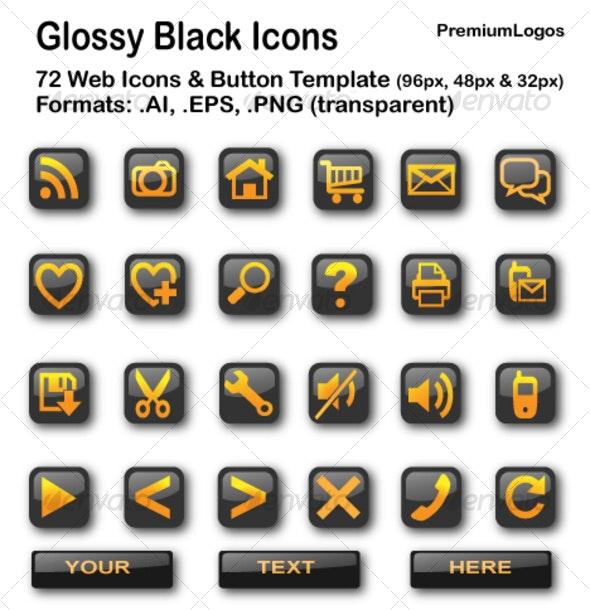 Glossy Black Icons - Web Icons
