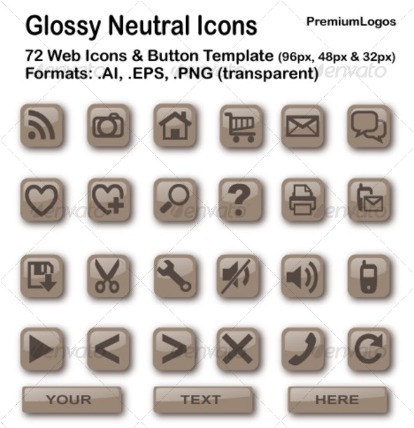 Glossy Neutral Icons - Web Icons