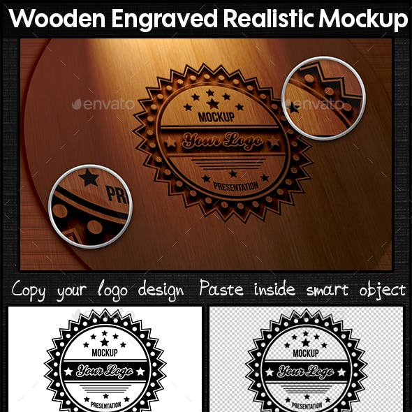 Wooden Engraved Realistic Mockup