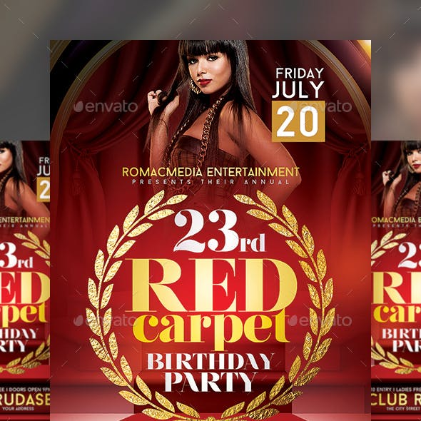 Red Carpet Birthday Party Flyer
