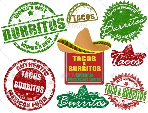 Tacos and burritos stamps - Food Objects
