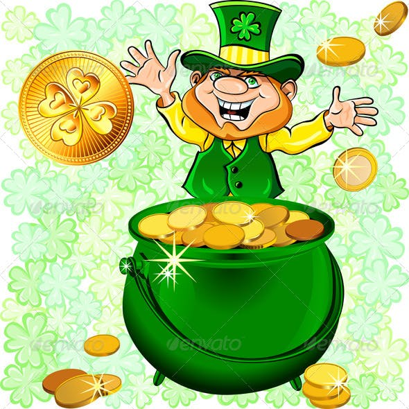 St. Patrick's Day Leprechaun with a Gold