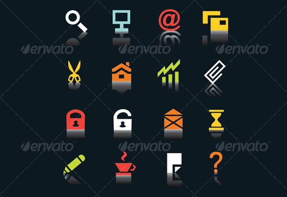Multicolored internet icons, part 1 - Web Icons