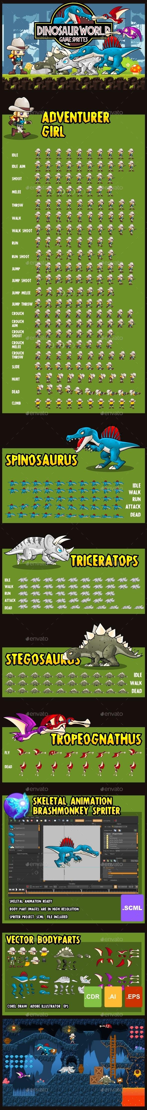 Dino World - Game Sprites - Sprites Game Assets