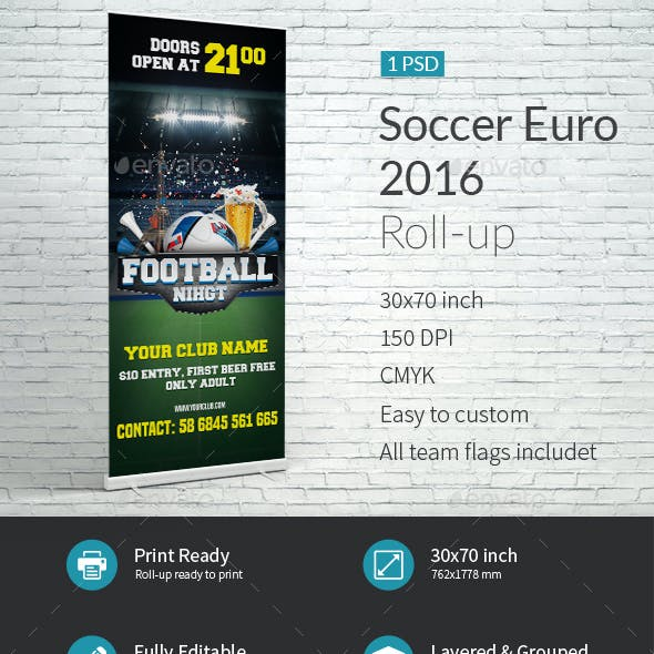Soccer Euro 2016 Roll-up Templates