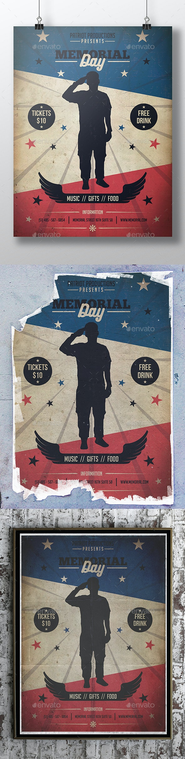 Memorial Day Poster Template - Clubs & Parties Events