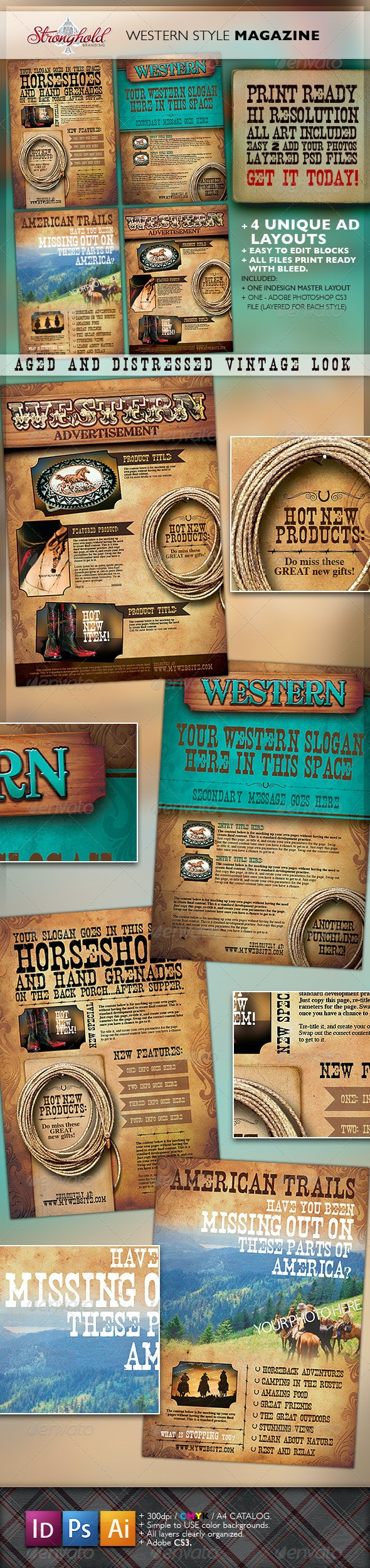 Western Vintage Magazine Ads - Magazines Print Templates