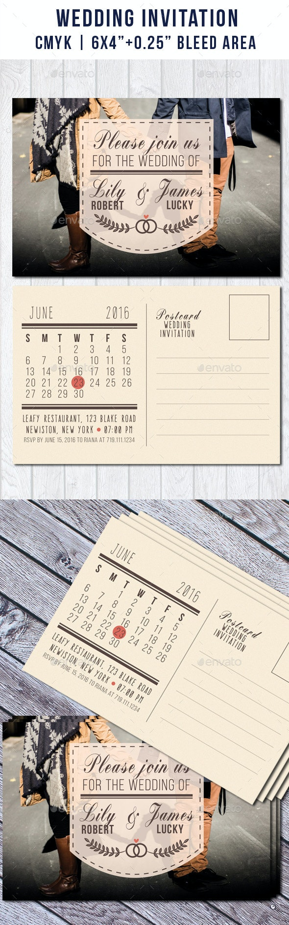 Wedding Postcard Invitation with Calendar - Weddings Cards & Invites