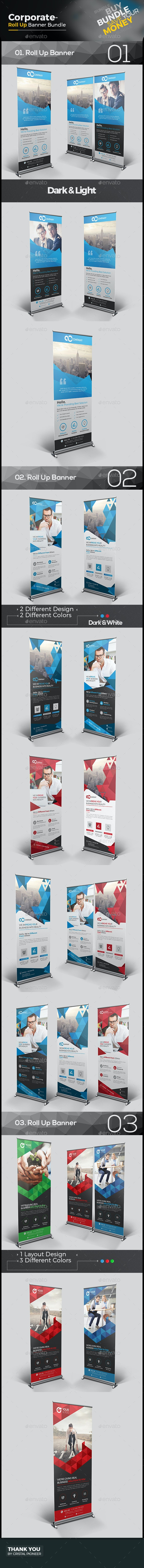 Corporate Roll Up Banner Bundle 3 in 1 - Signage Print Templates
