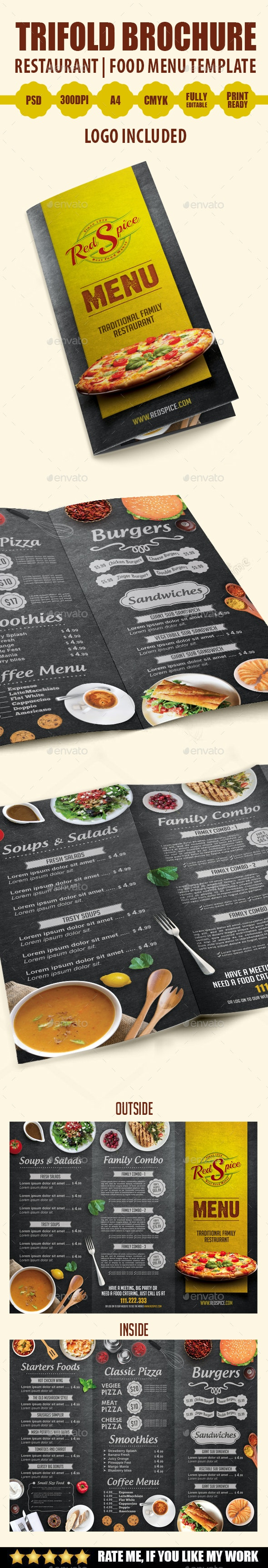 Trifold Brochure Restaurant Menu Template - Food Menus Print Templates