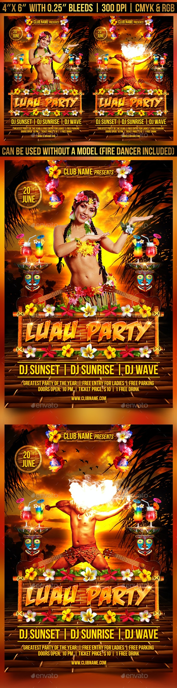 Luau Party Flyer Template - Clubs & Parties Events