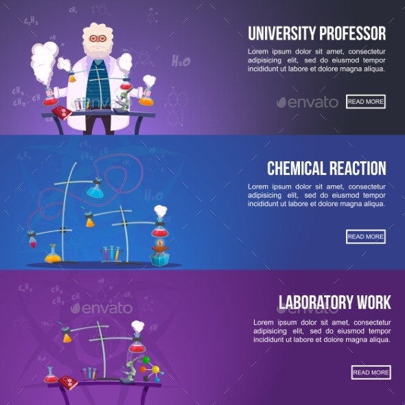 Chemistry Lab Colored Banner Set - Technology Conceptual