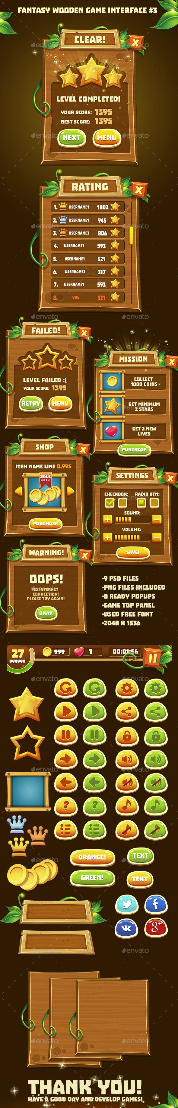 Fantasy Wooden Game Interface #3 - User Interfaces Game Assets