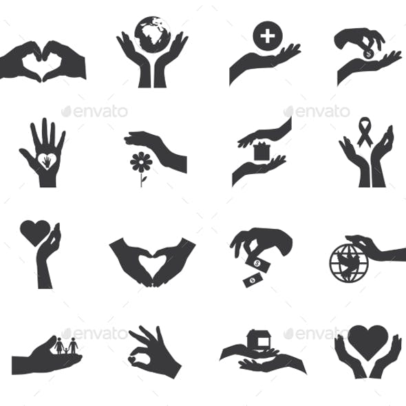 Hand Silhouette Flat Icon Isolated Set