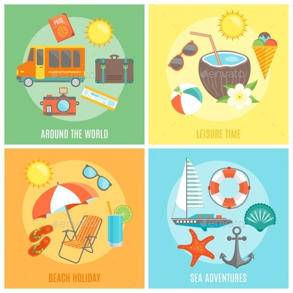 Summer Isolated Icon Set - Travel Conceptual