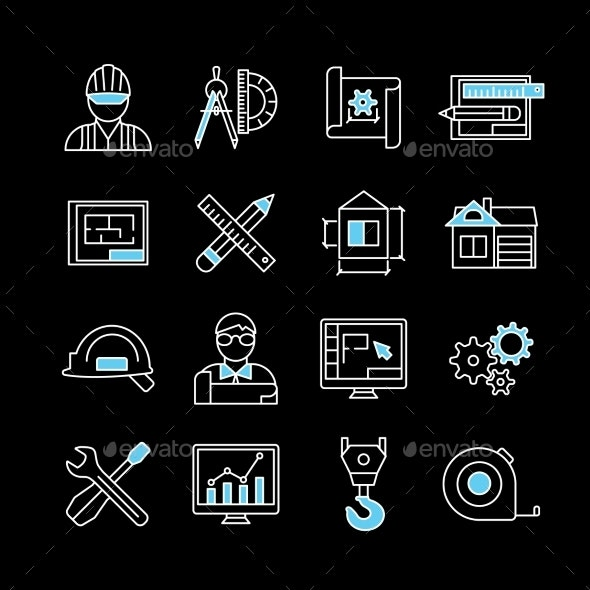 Blueprint White Blue Linear Icons - Business Icons