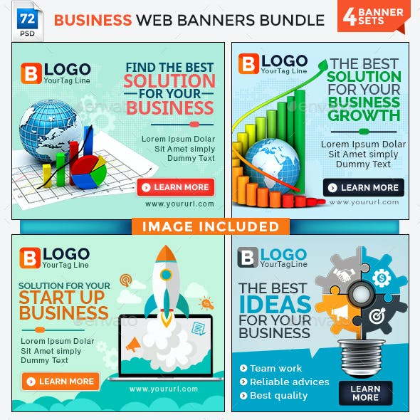 Business Banners Bundle - 4 Sets - 72 Banners - Images Included
