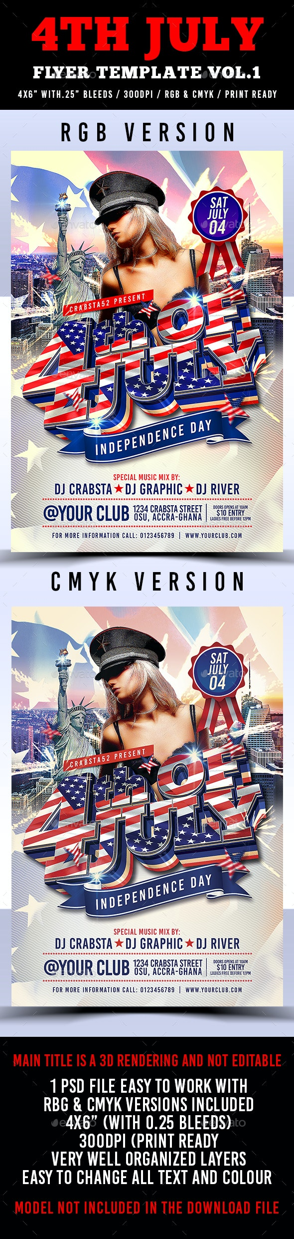 4th July Flyer Template Vol.1  - Holidays Events