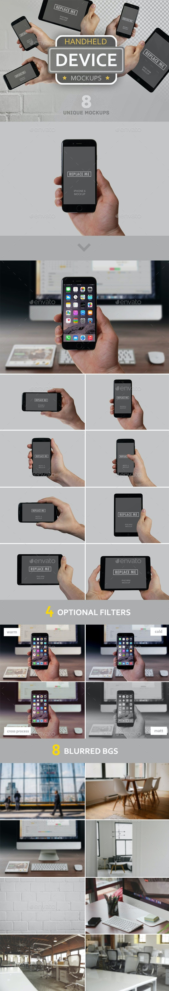 Handheld Device Mockups - Mobile Displays