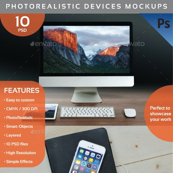 Photorealistic Devices Mockups