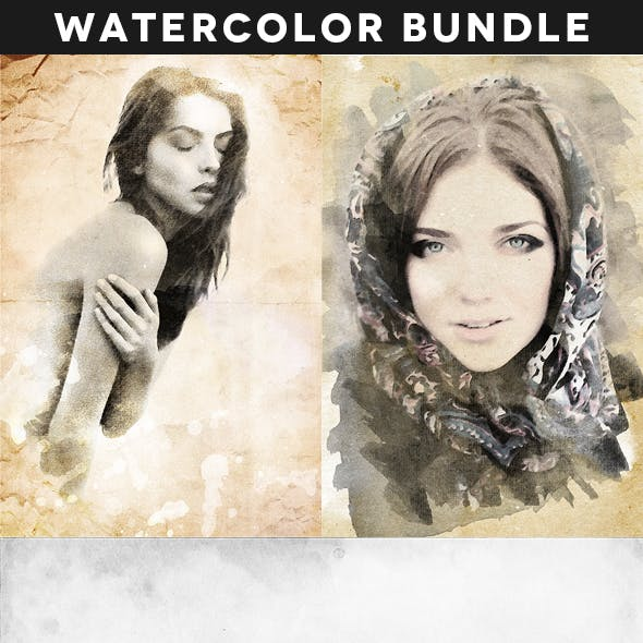 Creative Vintage Watercolor Actions Bundle