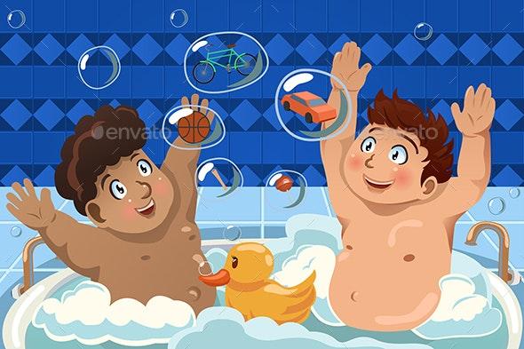Kids Having a Bubble Bath