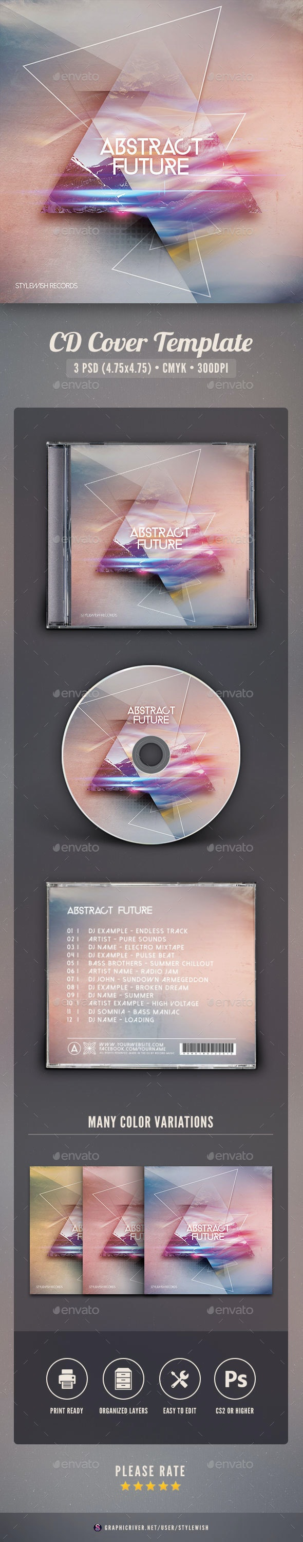 Abstract Future CD Cover Artwork - CD & DVD Artwork Print Templates