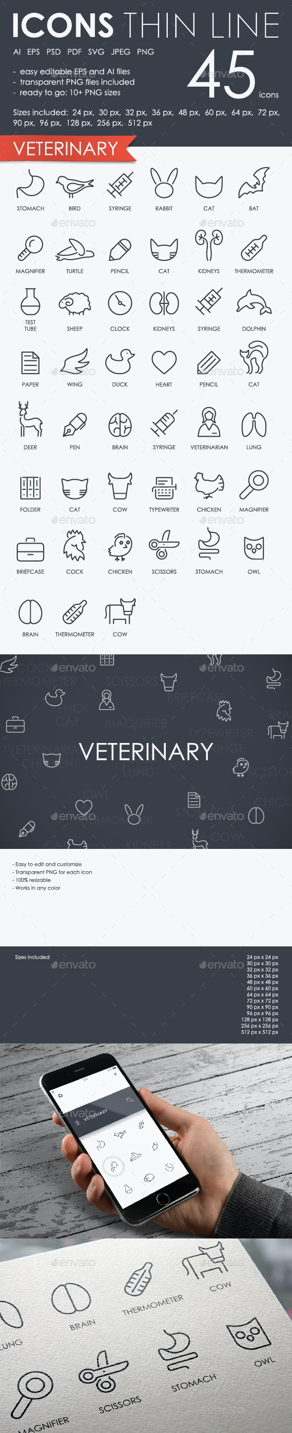 Veterinary thinline icons - Animals Characters