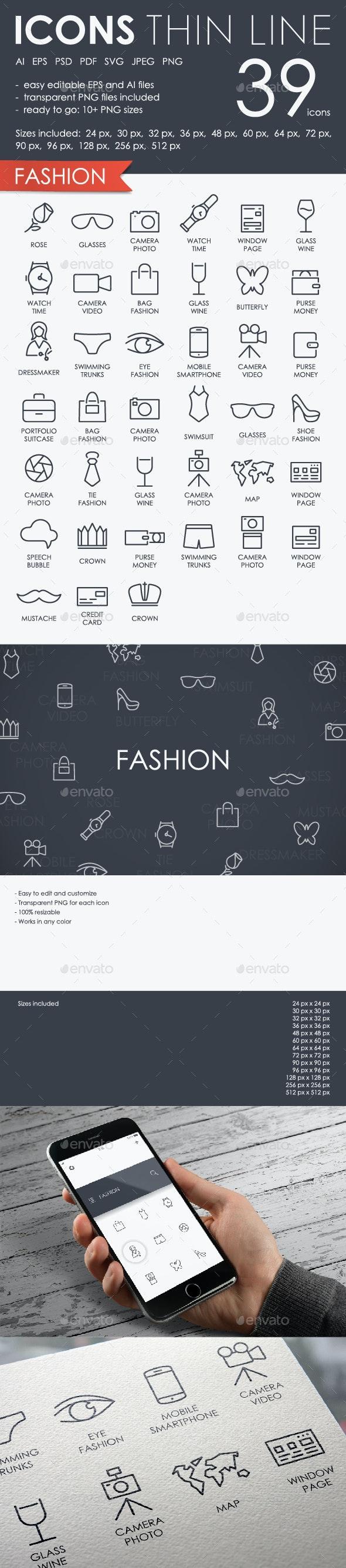 Fashion thinline icons
