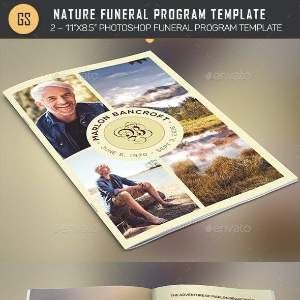 Nature Funeral Program Photoshop Template v1