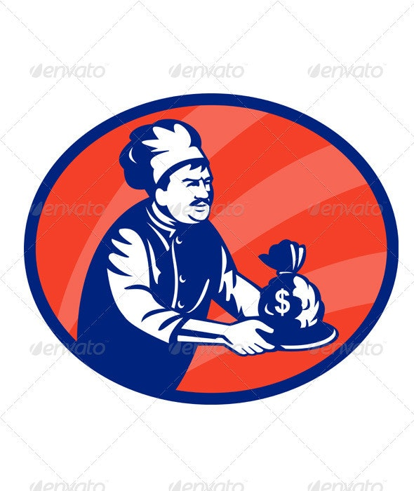 Chef Cook Baker Serving Bag Of Money Retro - People Characters