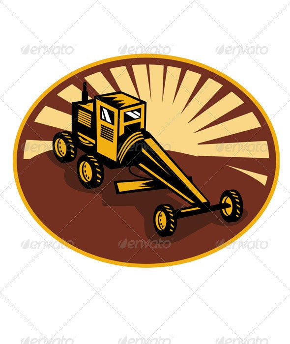 Construction Road Grader Retro - Industries Business